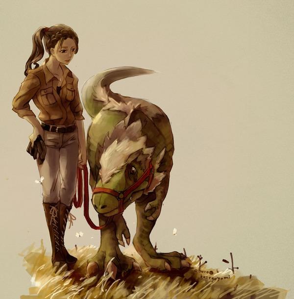 竜の子供と女性結合