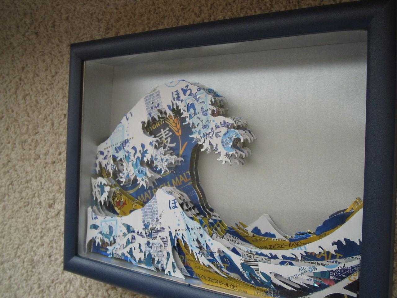 空き缶でシャドーボックス、葛飾北斎の冨嶽三十六景 神奈川沖浪裏を作ってみました : マカオンのブログ