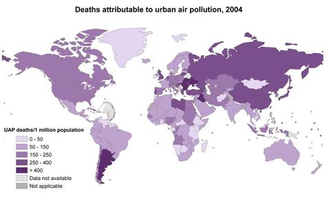 地域別の100万人当たりの大気汚染による死亡者数(WHO)