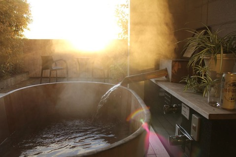 松島朝の露天風呂