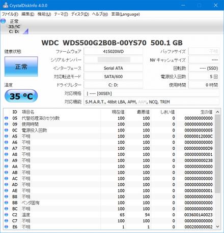 VAIO S11 SSD交換後ディスクインフォ