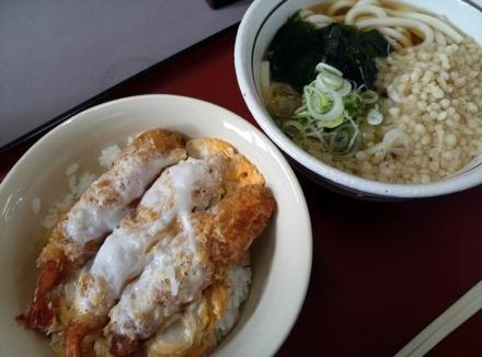 山田うどん エビフライの玉子とじ丼セット