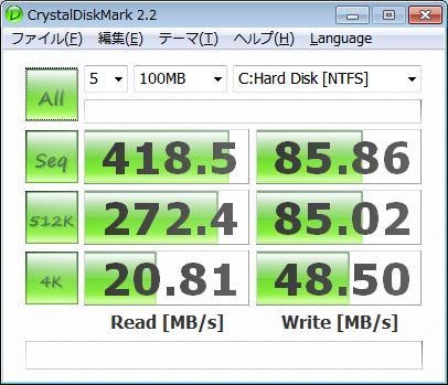 自作機 SSD RAID0の起動ドライブベンチ