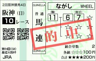 2回4日阪神10R G�大阪杯◎テイエムアンコール馬連的中