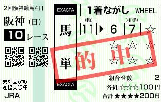2回4日阪神10R G�大阪杯◎テイエムアンコール馬単的中