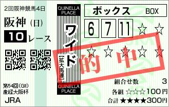 2回4日阪神10R G�大阪杯◎テイエムアンコールワイド的中