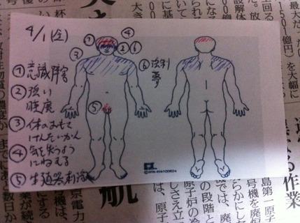 2011年4月1日 FRI 身体被害図