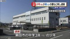 中学3年の15歳少年、包丁で12歳の弟の腹など刺し逮捕 静岡