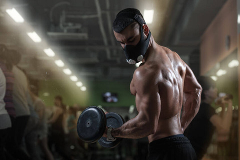 Workout-at-gym-with-elevation-training-mask