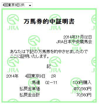 万馬券2014110_東京2R1