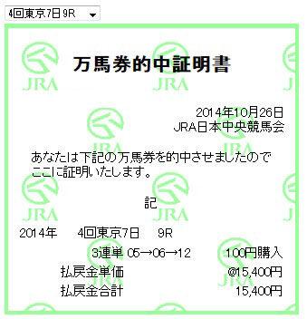 万馬券0141026_東京9R