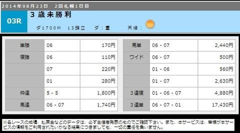 8月23日札幌3R_払戻