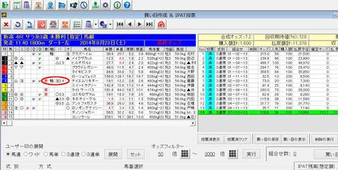 8月23日新潟4R_バケモン買い目