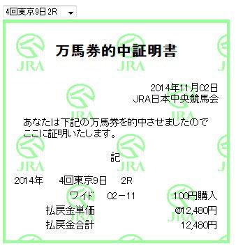 万馬券2014110_東京2R2