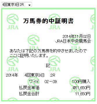 万馬券2014110_東京2R3