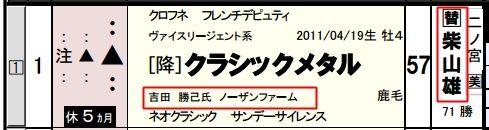 12月26日中山8Rクラシックメタル(馬柱)