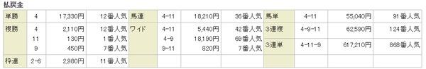 日曜中山12R結果2