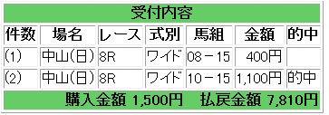 馬券中山8R(カレリア)