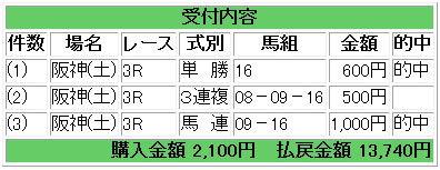 馬券阪神3R