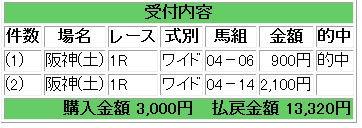 土曜阪神1R馬券