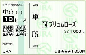馬券_0127中京10Rplaceハズ