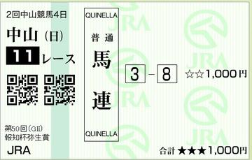 20130303弥生賞_馬連3-8ハズレ(1ちゃ3ちゃ)