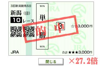 20120826日曜新潟10Rシルクドリーマー単勝2720円