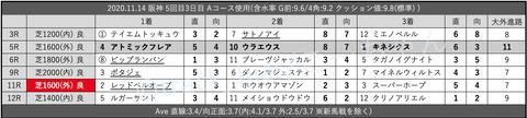 2020.11.14 阪神 5回目3日目 Aコース使用
