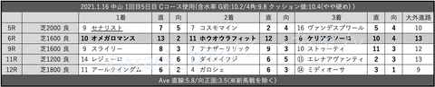 2021.1.16 中山 1回目5日目 Cコース使用