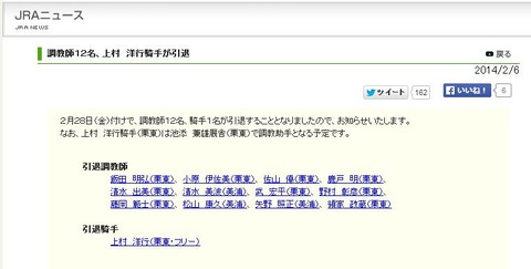 jra news 上村洋行引退