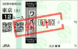 0620東京12R決めワイド1点勝負馬券