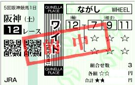1130阪神12r決め軸ワイド流し