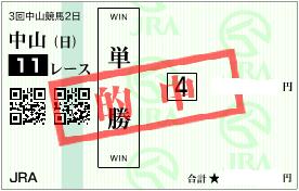0326中山11RマーチSインカンテーション単勝的中馬券