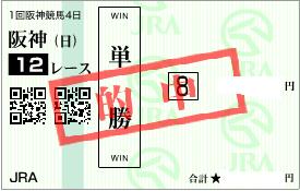 0308阪神12R堅軸馬の単勝勝負馬券