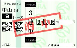 0111中山9Rダート必勝パターン利用の3連単的中馬券