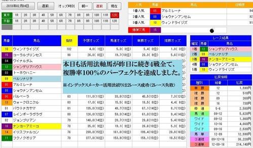 デッドワンシステム3活用0204東京12R軸馬