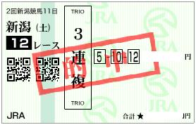 0902新潟12R3連複1点馬券