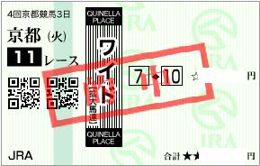 1014京都大賞典決めワイド1点