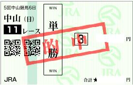 1220中山11R決め単勝馬券