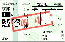 1011京都11R決め軸馬連パターン
