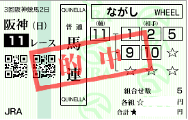 0608阪神11R決め軸馬連流し