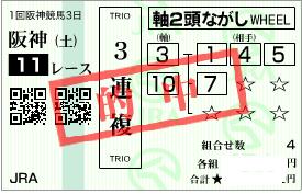 0304阪神11R決め2頭軸3連複流し