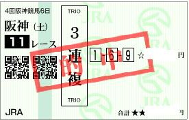 0921阪神11r3連複1点