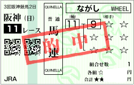 0608阪神11R馬連1点決め加重