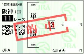 0308阪神11R決め穴軸単勝的中馬券