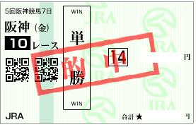 1223阪神10R単勝大勝負馬券