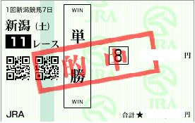 0523新潟11R決め穴堅軸の単勝馬券