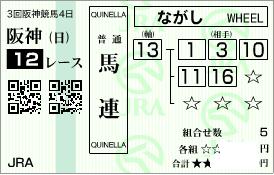 0615阪神12R決め穴軸馬連