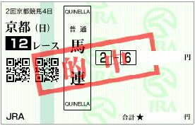 0205京都12R堅軸馬とパドック1番との馬連加重馬券
