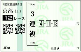 1010京都12R3連複1点加重投資